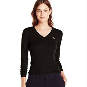 Lacoste | Black V Neck Long Sleeved Top